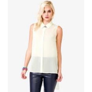 Forever 21 High Low Button Down Tank Top